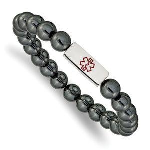 Medical ID Plate Hematite Bead Stretch Bracelet